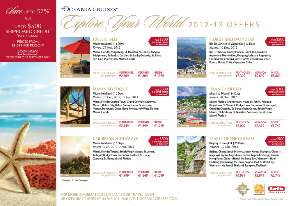 Oceania Cruises 2012-13 special offers horizon world USD World prices-6-12-12