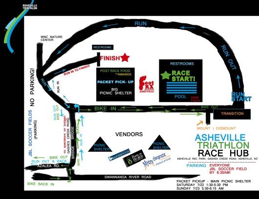Asheville triathlon race hub map